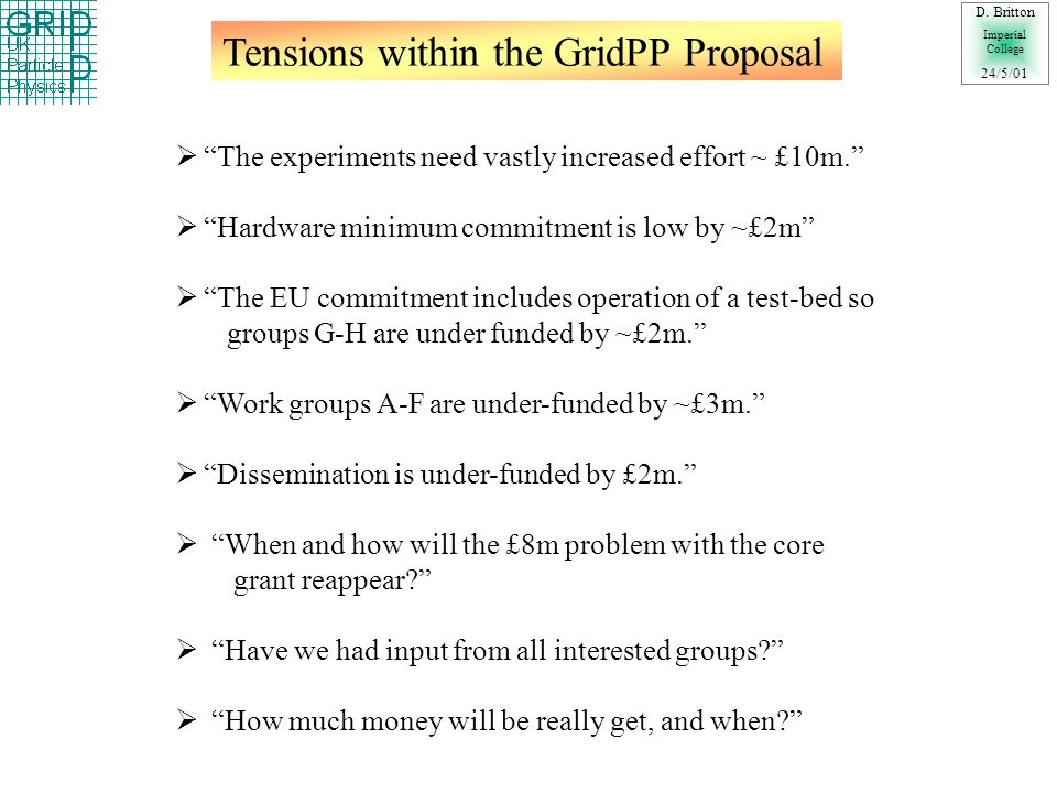 Tensions within the GridPP Proposal D.