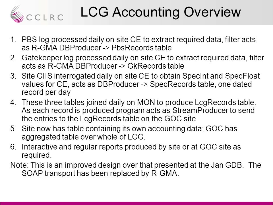 LCG Accounting Overview 1.PBS log processed daily on site CE to extract required data, filter acts as R-GMA DBProducer -> PbsRecords table 2.Gatekeeper log processed daily on site CE to extract required data, filter acts as R-GMA DBProducer -> GkRecords table 3.Site GIIS interrogated daily on site CE to obtain SpecInt and SpecFloat values for CE, acts as DBProducer -> SpecRecords table, one dated record per day 4.These three tables joined daily on MON to produce LcgRecords table.