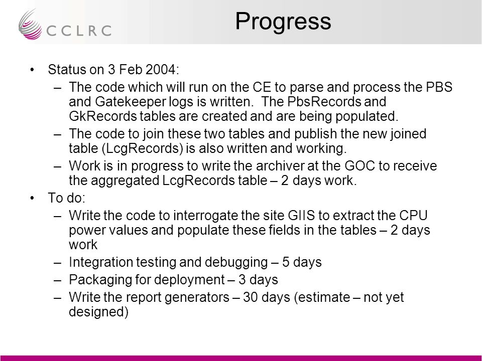 Progress Status on 3 Feb 2004: –The code which will run on the CE to parse and process the PBS and Gatekeeper logs is written.