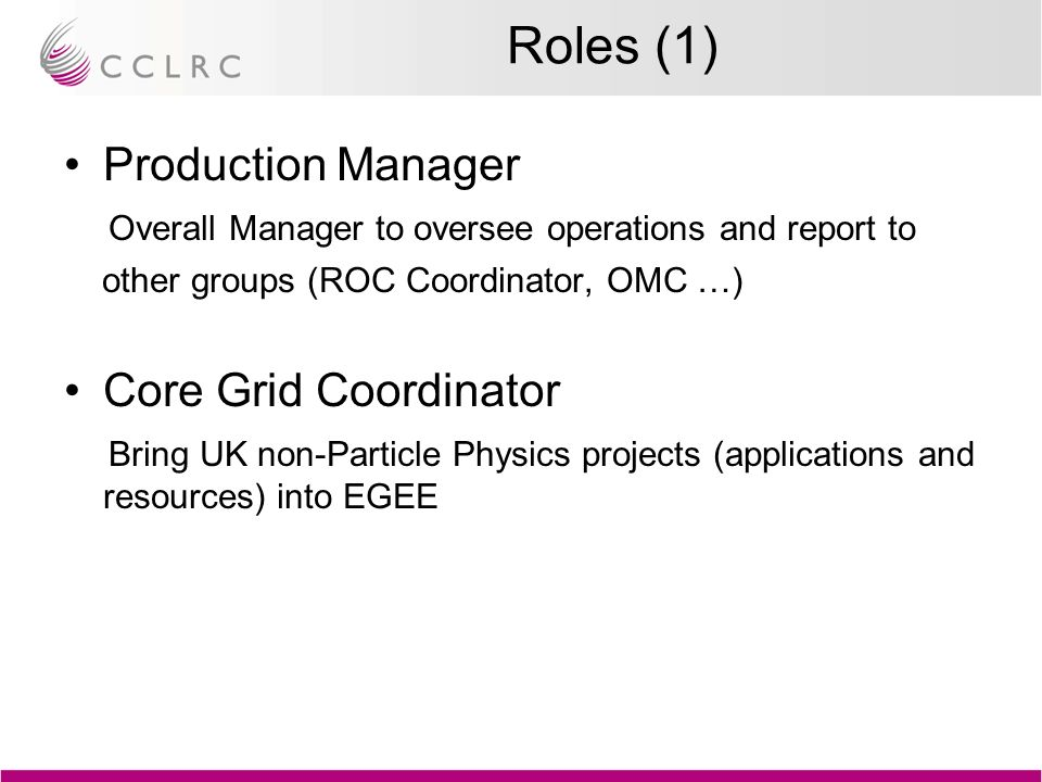 Roles (1) Production Manager Overall Manager to oversee operations and report to other groups (ROC Coordinator, OMC …) Core Grid Coordinator Bring UK non-Particle Physics projects (applications and resources) into EGEE