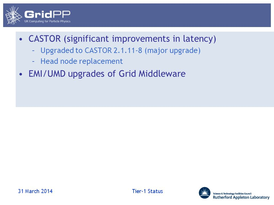 CASTOR (significant improvements in latency) –Upgraded to CASTOR 2.1.11-8 (major upgrade) –Head node replacement EMI/UMD upgrades of Grid Middleware 31 March 2014 Tier-1 Status
