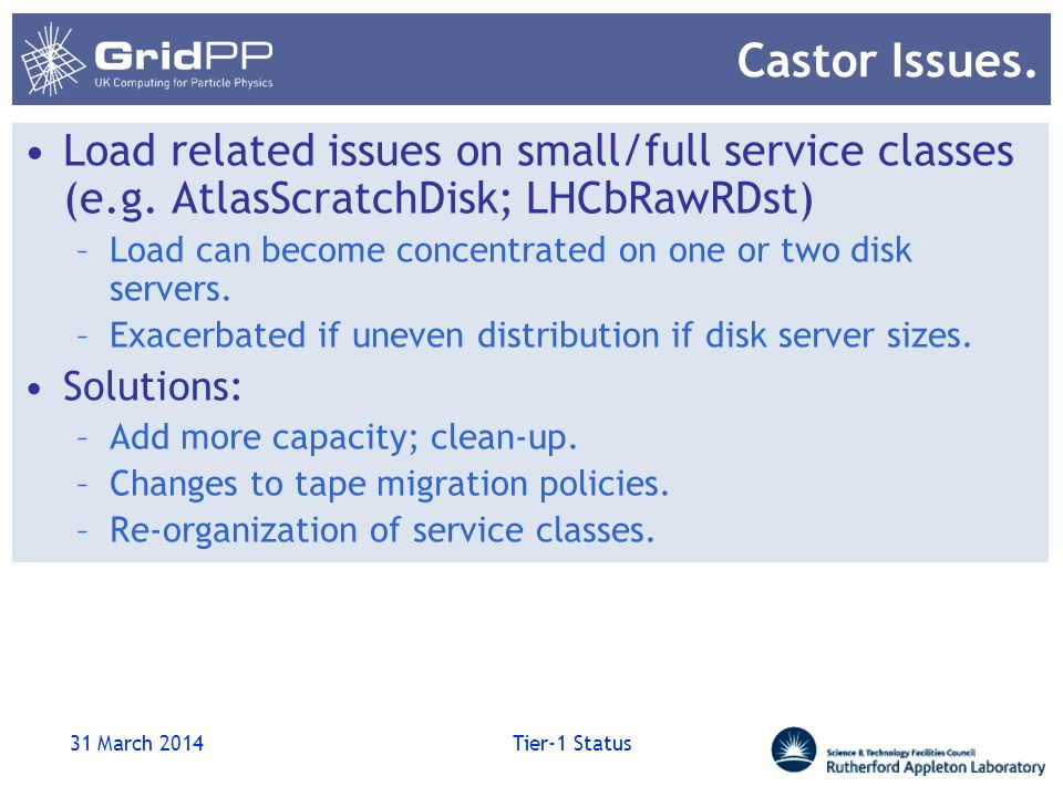 Castor Issues. Load related issues on small/full service classes (e.g.