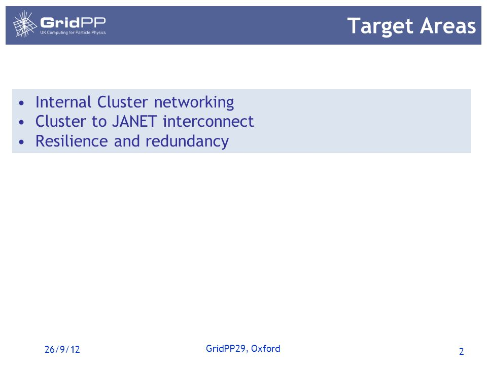 2 GridPP29, Oxford Target Areas Internal Cluster networking Cluster to JANET interconnect Resilience and redundancy 26/9/12