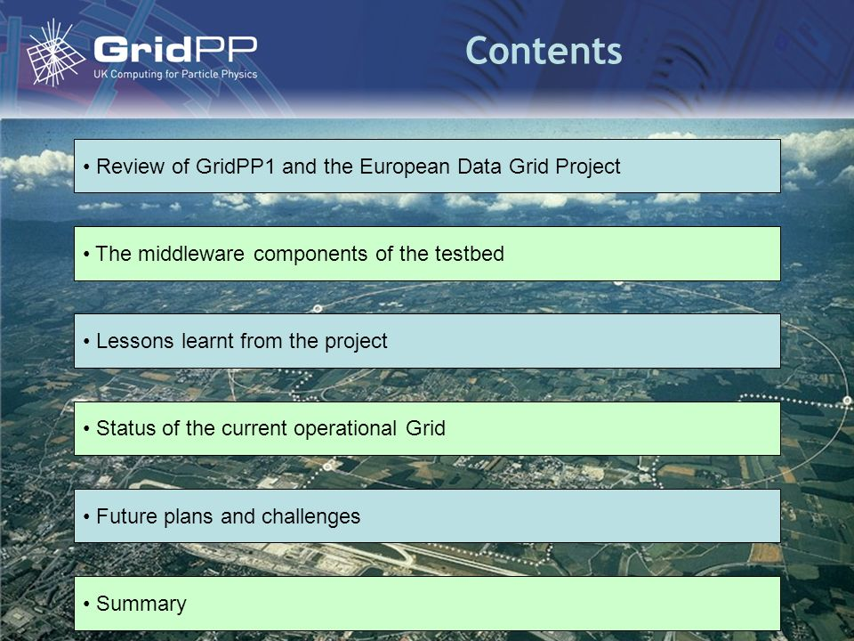 Contents The middleware components of the testbed Lessons learnt from the project Status of the current operational Grid Future plans and challenges Summary Review of GridPP1 and the European Data Grid Project