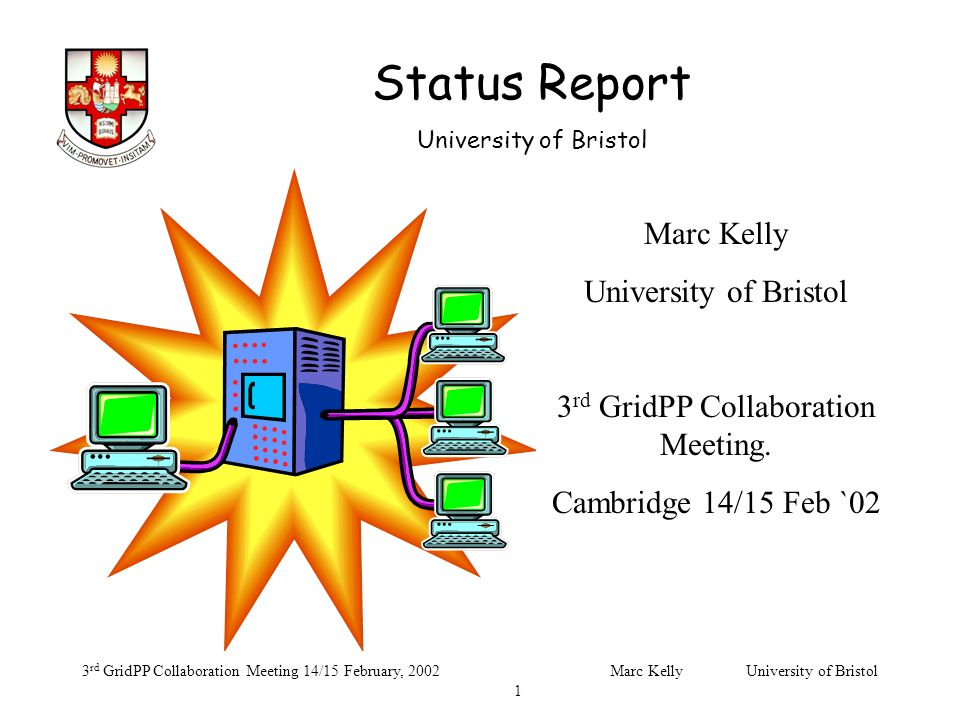 Status Report University of Bristol 3 rd GridPP Collaboration Meeting 14/15 February, 2002Marc Kelly University of Bristol 1 Marc Kelly University of