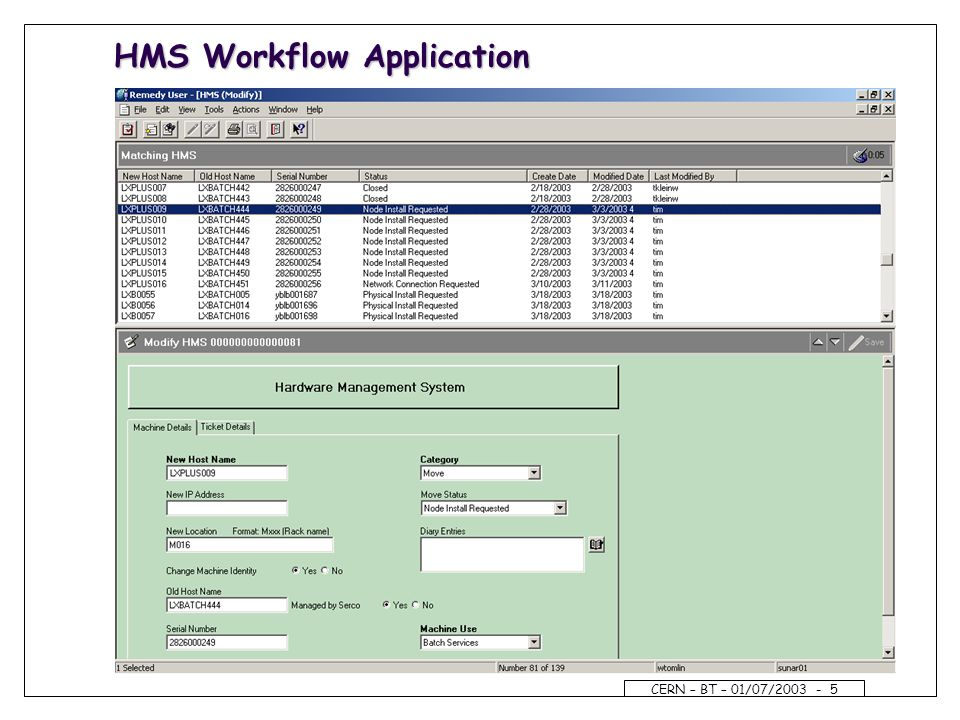 CERN – BT – 01/07/2003 - 5 HMS Workflow Application