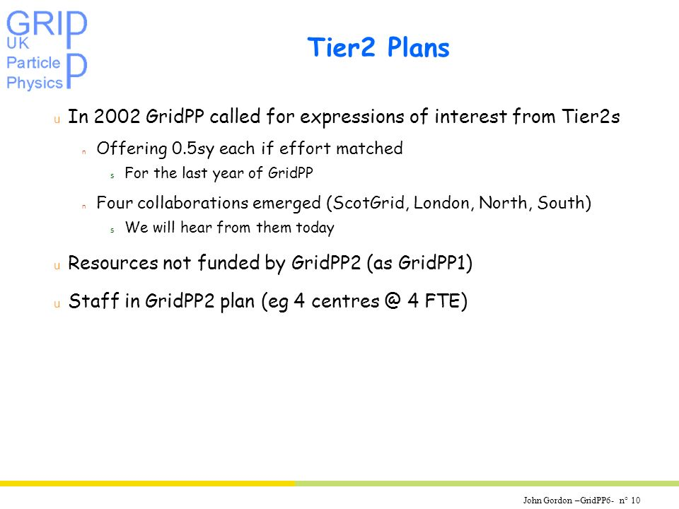 John Gordon –GridPP6- n° 10 Tier2 Plans u In 2002 GridPP called for expressions of interest from Tier2s n Offering 0.5sy each if effort matched s For the last year of GridPP n Four collaborations emerged (ScotGrid, London, North, South) s We will hear from them today u Resources not funded by GridPP2 (as GridPP1) u Staff in GridPP2 plan (eg 4 4 FTE)