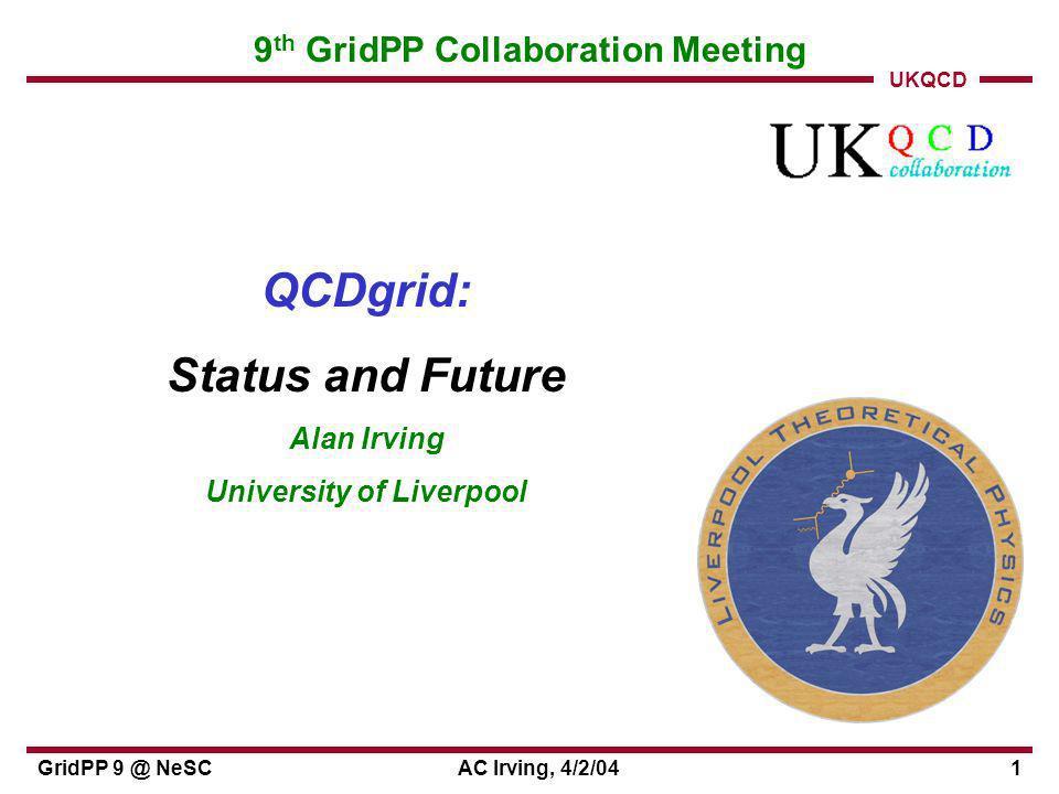 UKQCD GridPP 9 @ NeSCAC Irving, 4/2/0412 3-continent file browsing JLAB UKQCD LATT0 3
