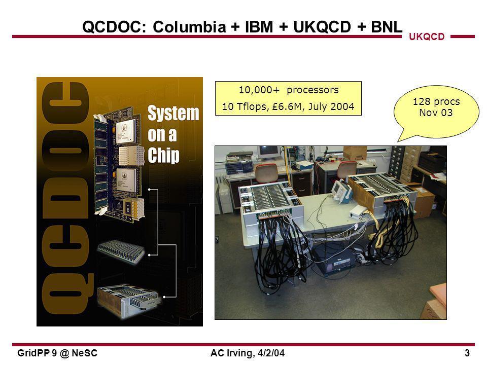 UKQCD GridPP 9 @ NeSCAC Irving, 4/2/044 Stop press....