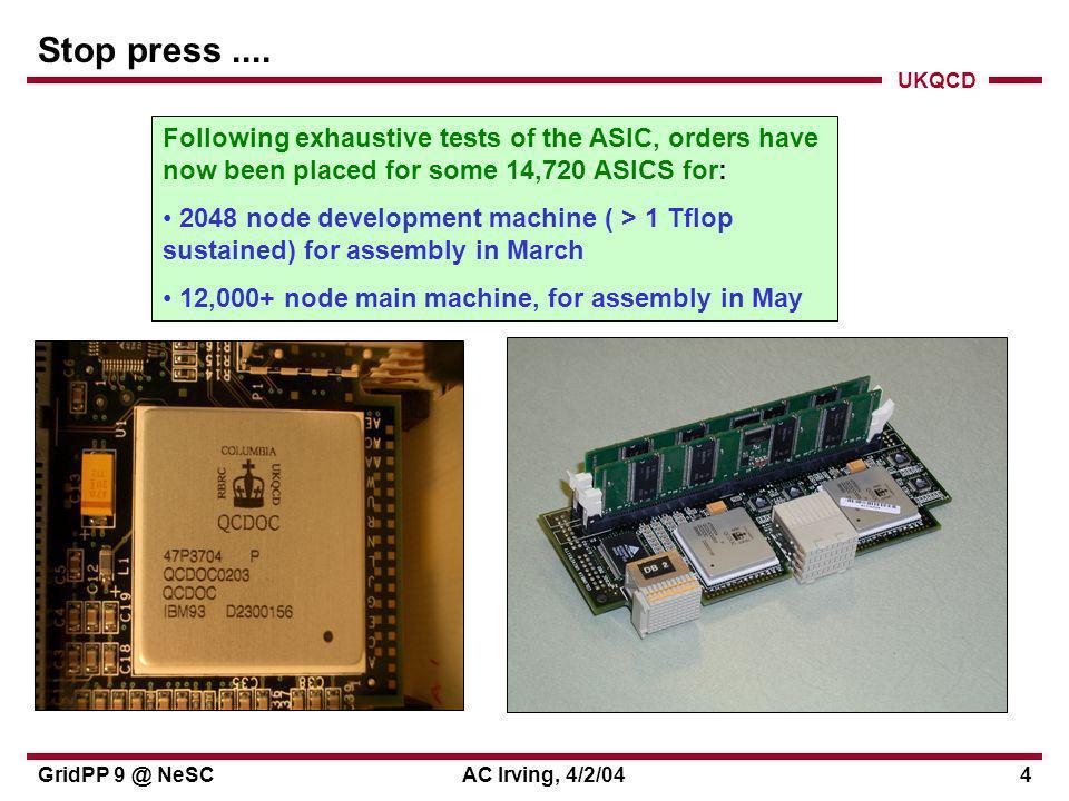 UKQCD GridPP 9 @ NeSCAC Irving, 4/2/0415 QCDgrid websites QCDgrid home page (at GridPP?): http://www.gridpp.ac.uk/qcdgrid QCDgrid project page at NeSCForge development site: http://qcdgrid.forge.nesc.ac.uk/ ILDG project page at JLAB, USA: http://qcdgrid.lqcd.org/ildg