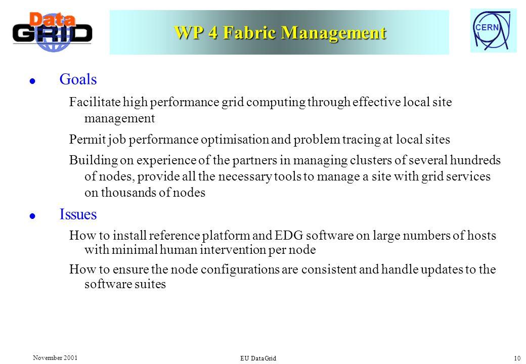 CERN November 2001 EU DataGrid 10 WP 4 Fabric Management l Goals Facilitate high performance grid computing through effective local site management Pe