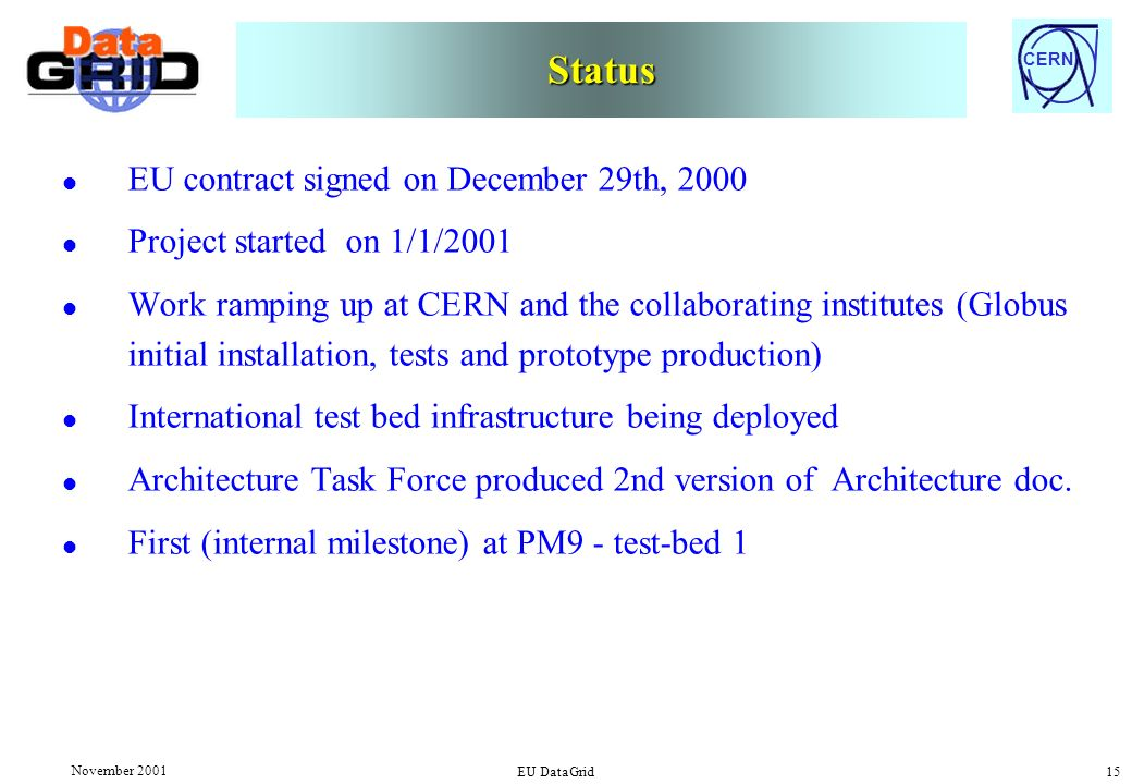 CERN November 2001 EU DataGrid 15 Status l EU contract signed on December 29th, 2000 l Project started on 1/1/2001 l Work ramping up at CERN and the collaborating institutes (Globus initial installation, tests and prototype production) l International test bed infrastructure being deployed l Architecture Task Force produced 2nd version of Architecture doc.