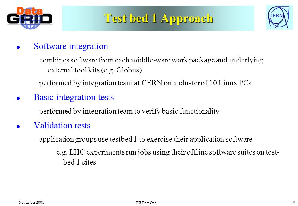 CERN November 2001 EU DataGrid 19 Test bed 1 Approach l Software integration combines software from each middle-ware work package and underlying external tool kits (e.g.