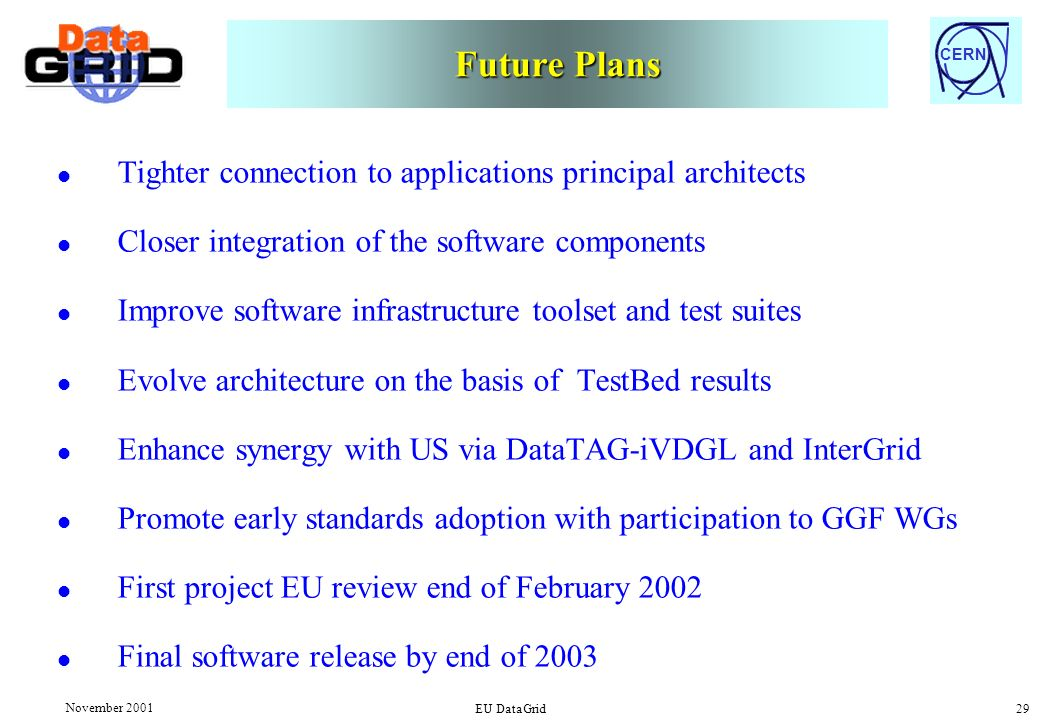 CERN November 2001 EU DataGrid 29 Future Plans l Tighter connection to applications principal architects l Closer integration of the software components l Improve software infrastructure toolset and test suites l Evolve architecture on the basis of TestBed results l Enhance synergy with US via DataTAG-iVDGL and InterGrid l Promote early standards adoption with participation to GGF WGs l First project EU review end of February 2002 l Final software release by end of 2003