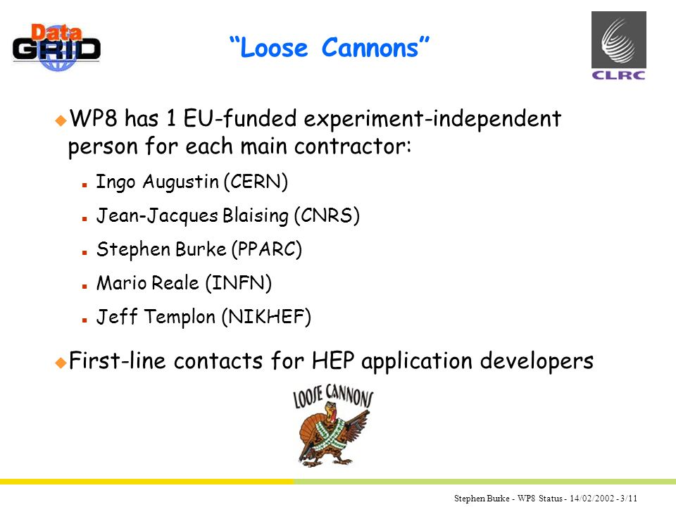 Stephen Burke - WP8 Status - 14/02/ /11 Loose Cannons u WP8 has 1 EU-funded experiment-independent person for each main contractor: n Ingo Augustin (CERN) n Jean-Jacques Blaising (CNRS) n Stephen Burke (PPARC) n Mario Reale (INFN) n Jeff Templon (NIKHEF) u First-line contacts for HEP application developers