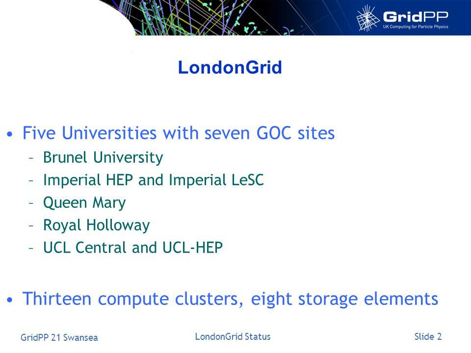 Slide 2 GridPP 21 Swansea LondonGrid Status LondonGrid Five Universities with seven GOC sites –Brunel University –Imperial HEP and Imperial LeSC –Quee