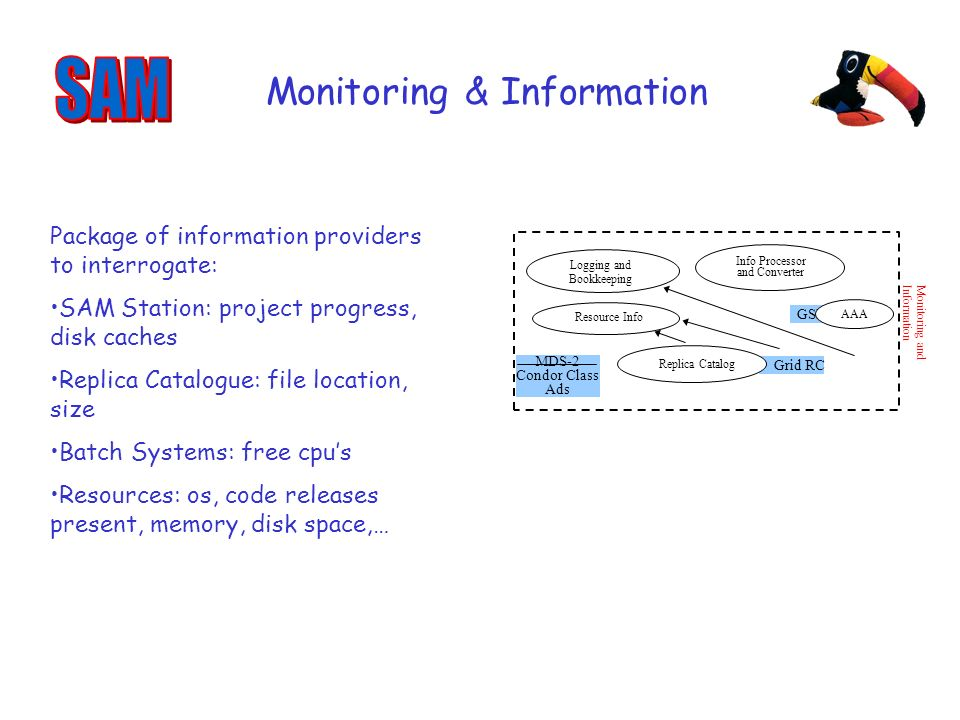 Grid RC Monitoring and Information Logging and Bookkeeping Info Processor and Converter Replica Catalog Resource Info GSI AAA MDS-2 Condor Class Ads Monitoring & Information Package of information providers to interrogate: SAM Station: project progress, disk caches Replica Catalogue: file location, size Batch Systems: free cpus Resources: os, code releases present, memory, disk space,…