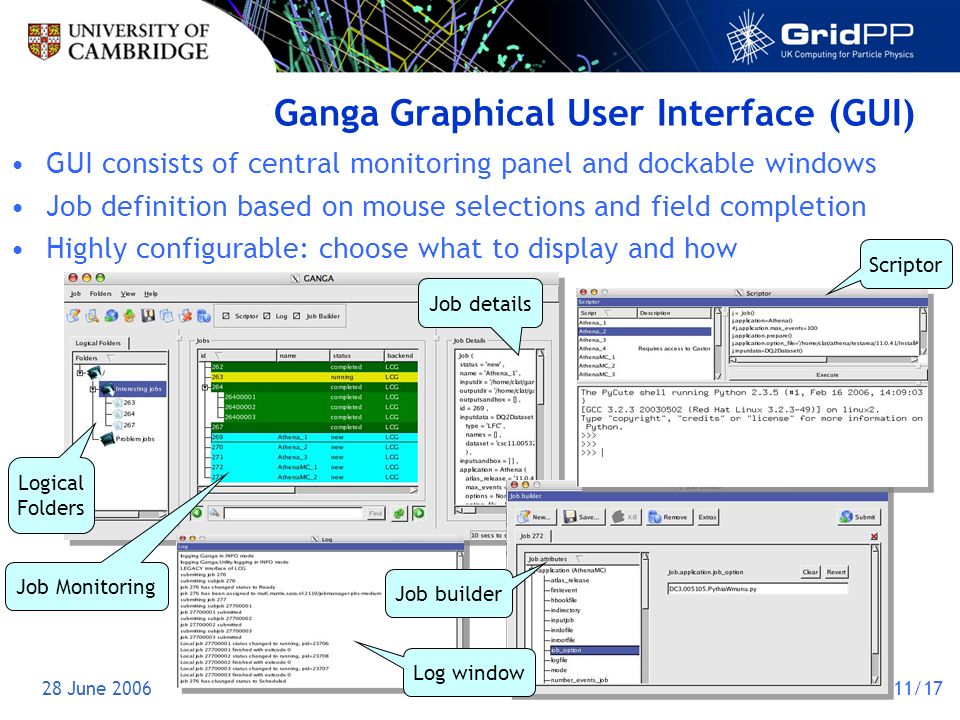 28 June 200611/17 Ganga Graphical User Interface (GUI) GUI consists of central monitoring panel and dockable windows Job definition based on mouse selections and field completion Highly configurable: choose what to display and how Job details Logical Folders Job Monitoring Log window Job builder Scriptor