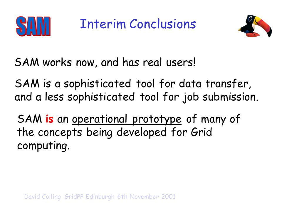 David Colling GridPP Edinburgh 6th November 2001 Interim Conclusions SAM is a sophisticated tool for data transfer, and a less sophisticated tool for job submission.
