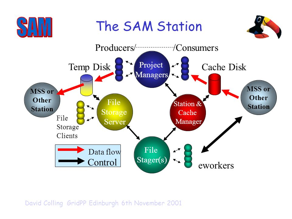 David Colling GridPP Edinburgh 6th November 2001 File Stager(s) Station & Cache Manager File Storage Server Project Managers /Consumers eworkers File Storage Clients MSS or Other Station MSS or Other Station Data flow Control Producers/ Cache Disk Temp Disk The SAM Station