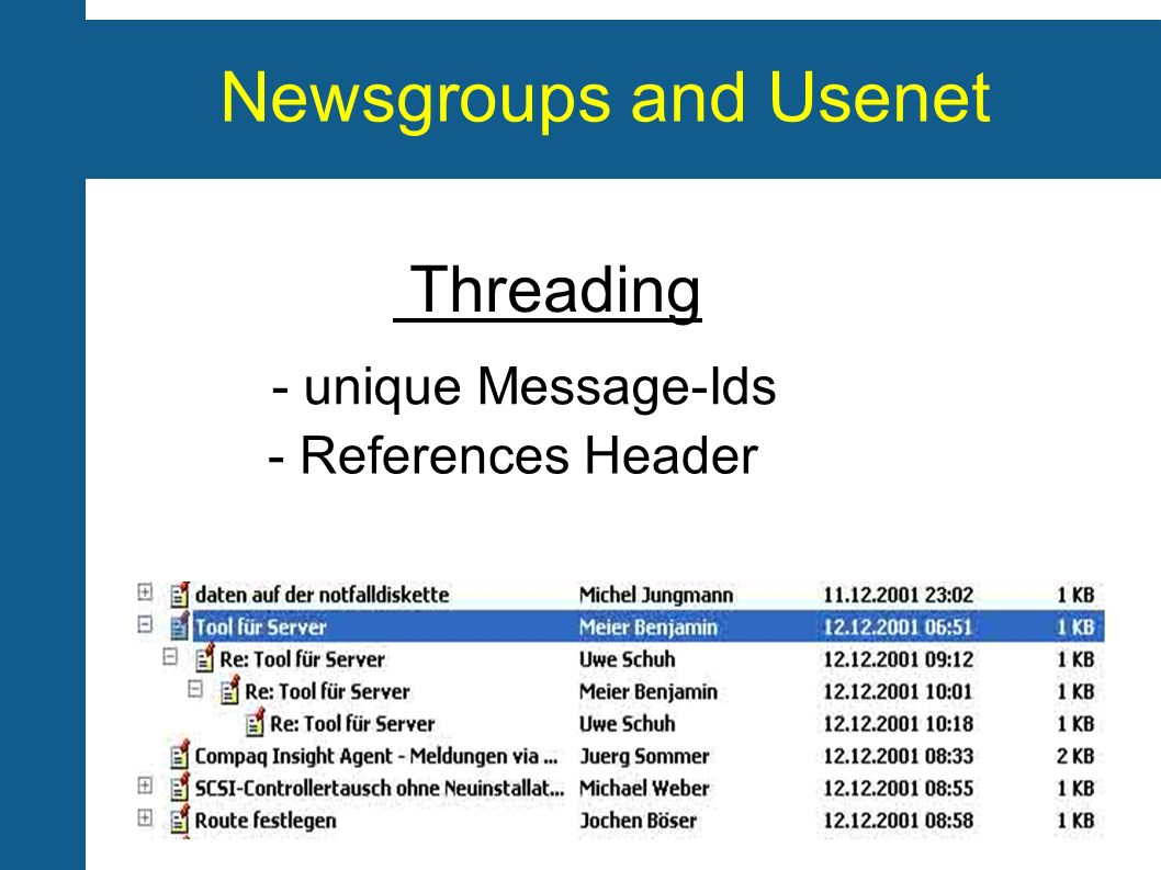 Newsgroups and Usenet Threading - unique Message-Ids - References Header
