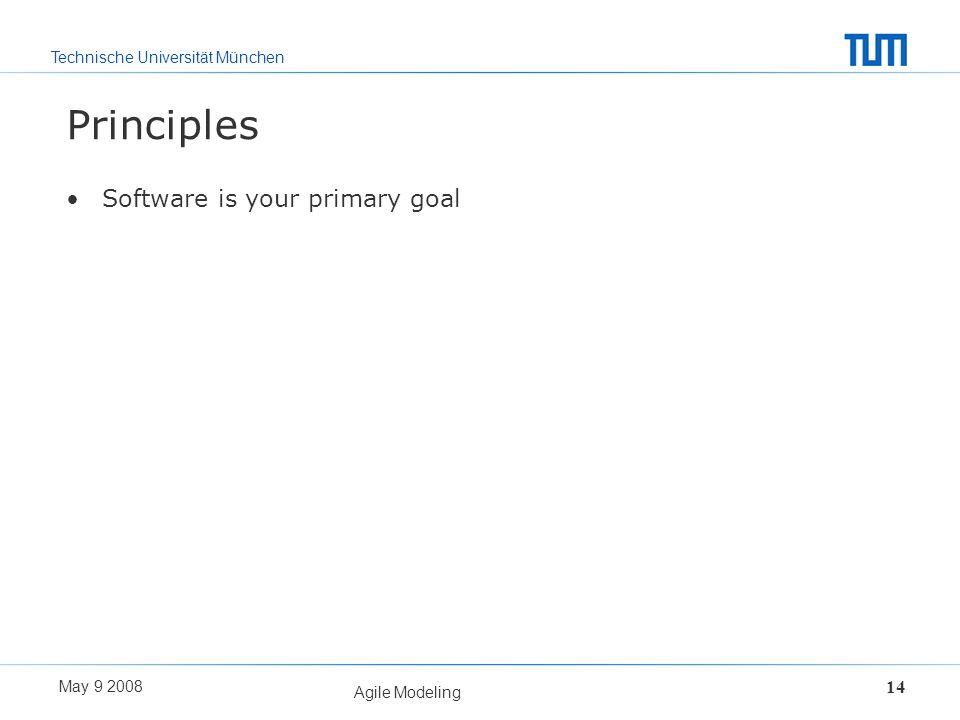 Technische Universität München May 9 2008 Agile Modeling 14 Principles Software is your primary goal