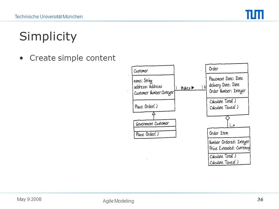 Technische Universität München May 9 2008 Agile Modeling 36 Simplicity Create simple content