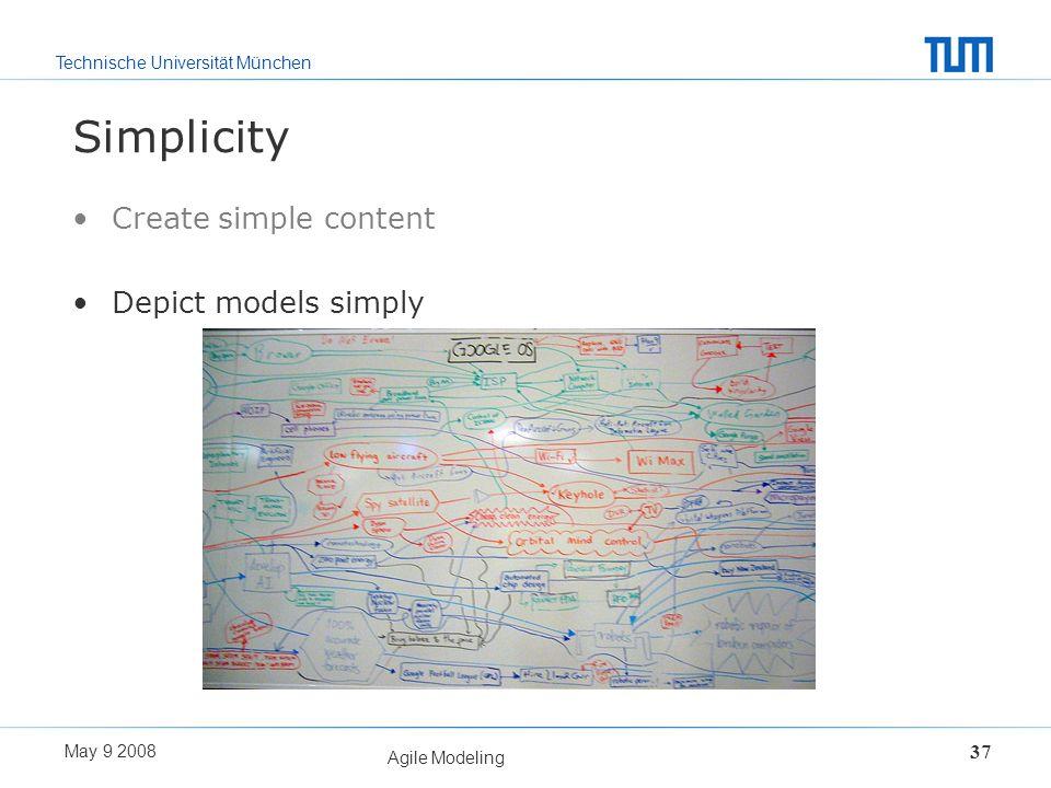 Technische Universität München May 9 2008 Agile Modeling 37 Simplicity Create simple content Depict models simply