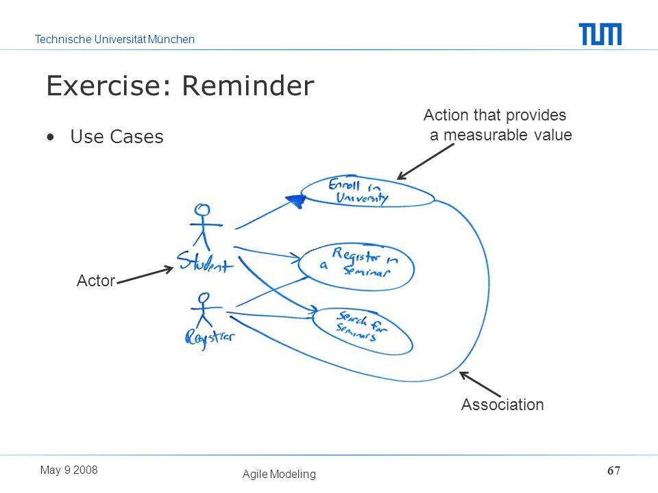 Technische Universität München May 9 2008 Agile Modeling 67 Exercise: Reminder Use Cases Actor Action that provides a measurable value Association