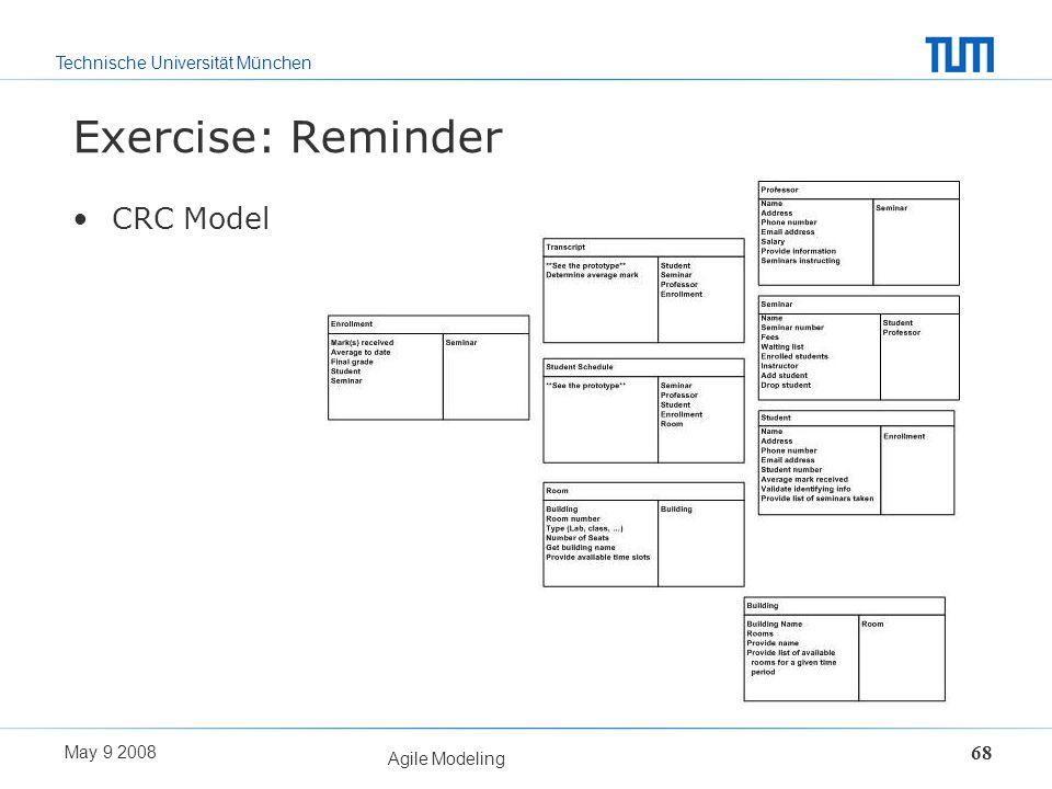 Technische Universität München May 9 2008 Agile Modeling 68 Exercise: Reminder CRC Model