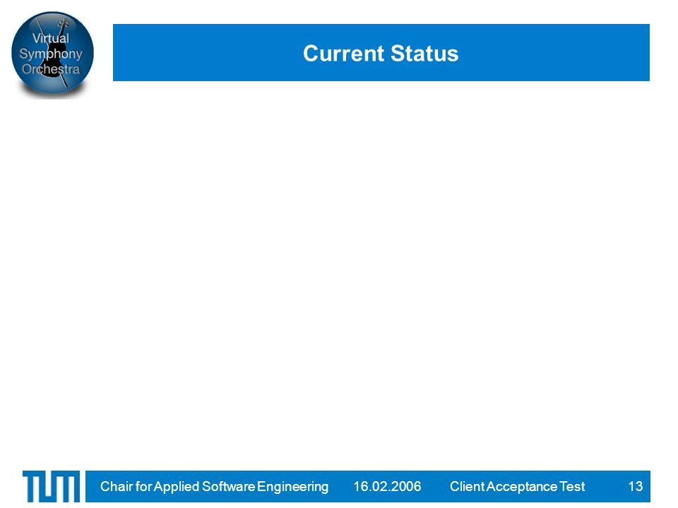 16.02.2006Client Acceptance TestChair for Applied Software Engineering13 Current Status