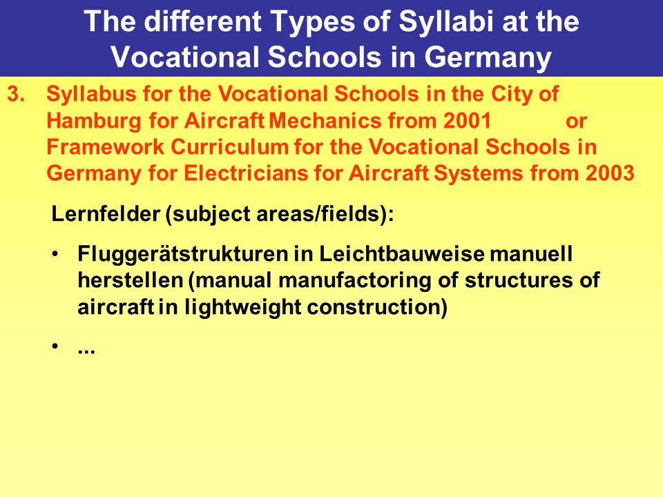 The different Types of Syllabi at the Vocational Schools in Germany 3.Syllabus for the Vocational Schools in the City of Hamburg for Aircraft Mechanics from 2001 or Framework Curriculum for the Vocational Schools in Germany for Electricians for Aircraft Systems from 2003 Lernfelder (subject areas/fields): Fluggerätstrukturen in Leichtbauweise manuell herstellen (manual manufactoring of structures of aircraft in lightweight construction)...