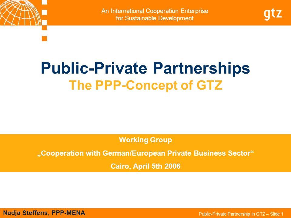 An International Cooperation Enterprise for Sustainable Development Public-Private Partnership in GTZ – Slide 1 Public-Private Partnerships The PPP-Co