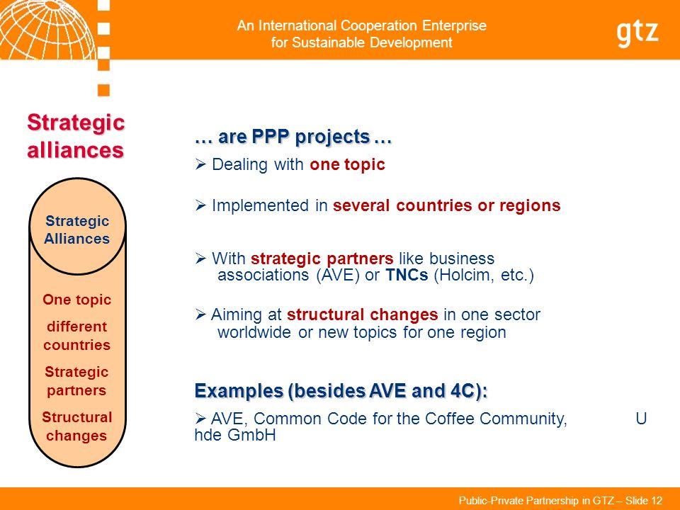 An International Cooperation Enterprise for Sustainable Development Public-Private Partnership in GTZ – Slide 12 Strategic alliances Strategic Allianc