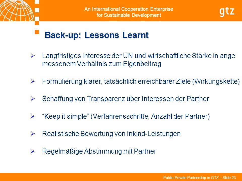 An International Cooperation Enterprise for Sustainable Development Public-Private Partnership in GTZ – Slide 23 Back-up: Lessons Learnt Langfristiges