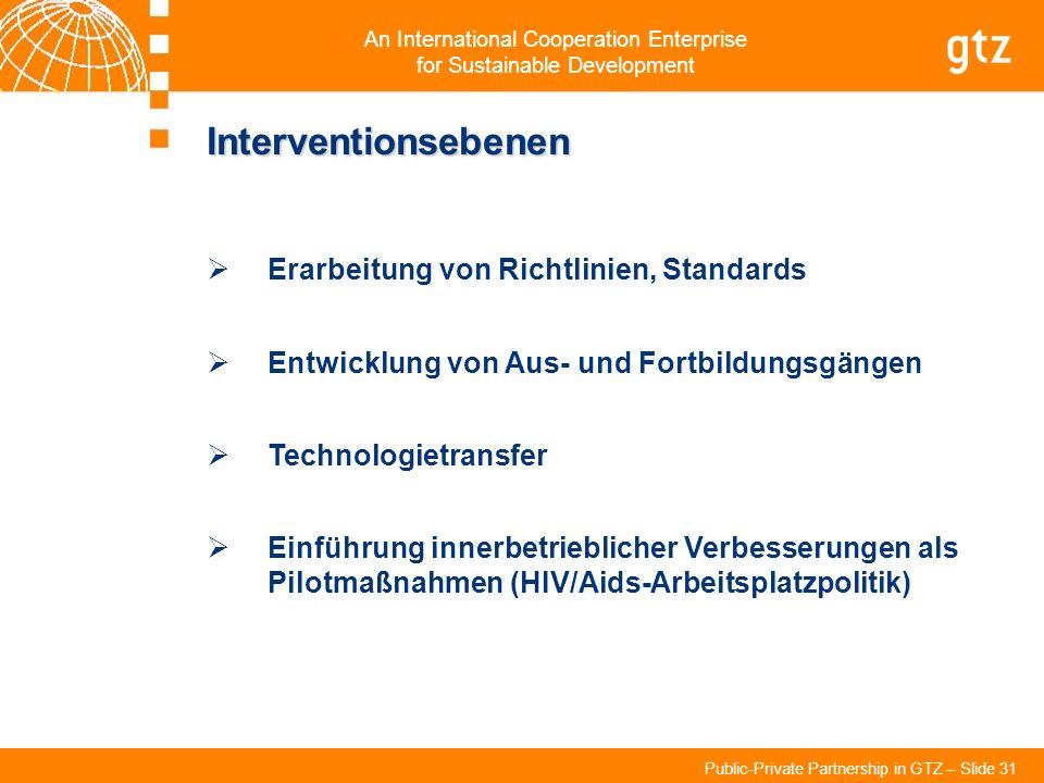 An International Cooperation Enterprise for Sustainable Development Public-Private Partnership in GTZ – Slide 31 Interventionsebenen Erarbeitung von R