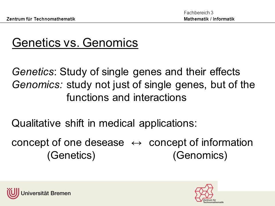 Zentrum für Technomathematik Mathematik / Informatik Fachbereich 3 Genetics vs.