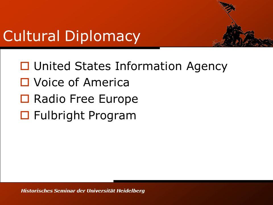 Historisches Seminar der Universität Heidelberg Cultural Diplomacy United States Information Agency Voice of America Radio Free Europe Fulbright Progr