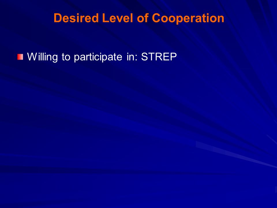 Desired Level of Cooperation Willing to participate in: STREP