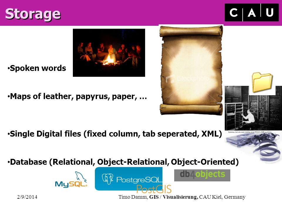 2/9/2014Timo Damm, GIS / Visualisierung, CAU Kiel, Germany Storage Spoken words Maps of leather, papyrus, paper, … Single Digital files (fixed column,