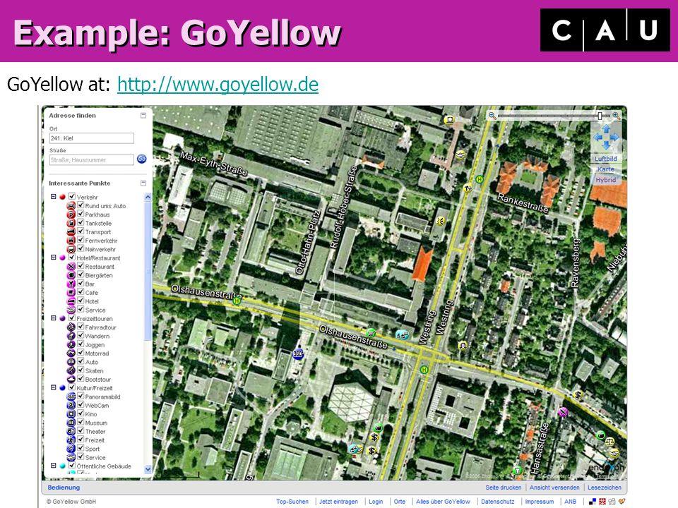 2/9/2014Timo Damm, GIS / Visualisierung, CAU Kiel, Germany Example: GoYellow GoYellow at: http://www.goyellow.dehttp://www.goyellow.de