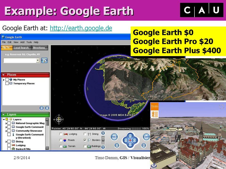 2/9/2014Timo Damm, GIS / Visualisierung, CAU Kiel, Germany Example: Google Earth Google Earth at: http://earth.google.dehttp://earth.google.de Google