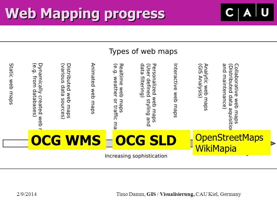 2/9/2014Timo Damm, GIS / Visualisierung, CAU Kiel, Germany Web Mapping progress OCG WMSOCG SLD OpenStreetMaps WikiMapia