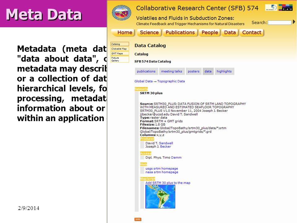 2/9/2014Timo Damm, GIS / Visualisierung, CAU Kiel, Germany Meta Data Metadata (meta data, or sometimes metainformation) is