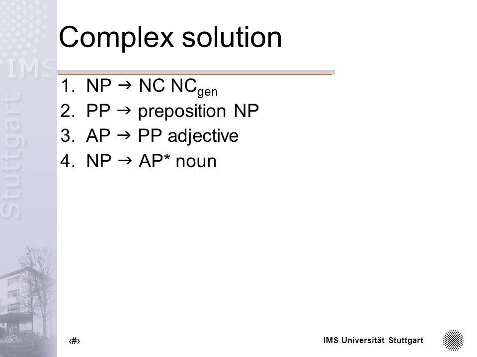 IMS Universität Stuttgart 33 Complex solution 1.NP NC NC gen 2.PP preposition NP 3.AP PP adjective 4.NP AP* noun