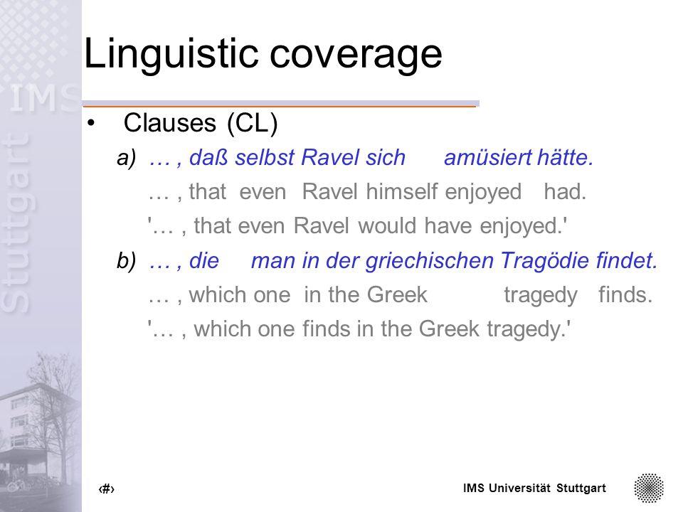 IMS Universität Stuttgart 30 Linguistic coverage Clauses (CL) a)…, daß selbst Ravel sich amüsiert hätte.