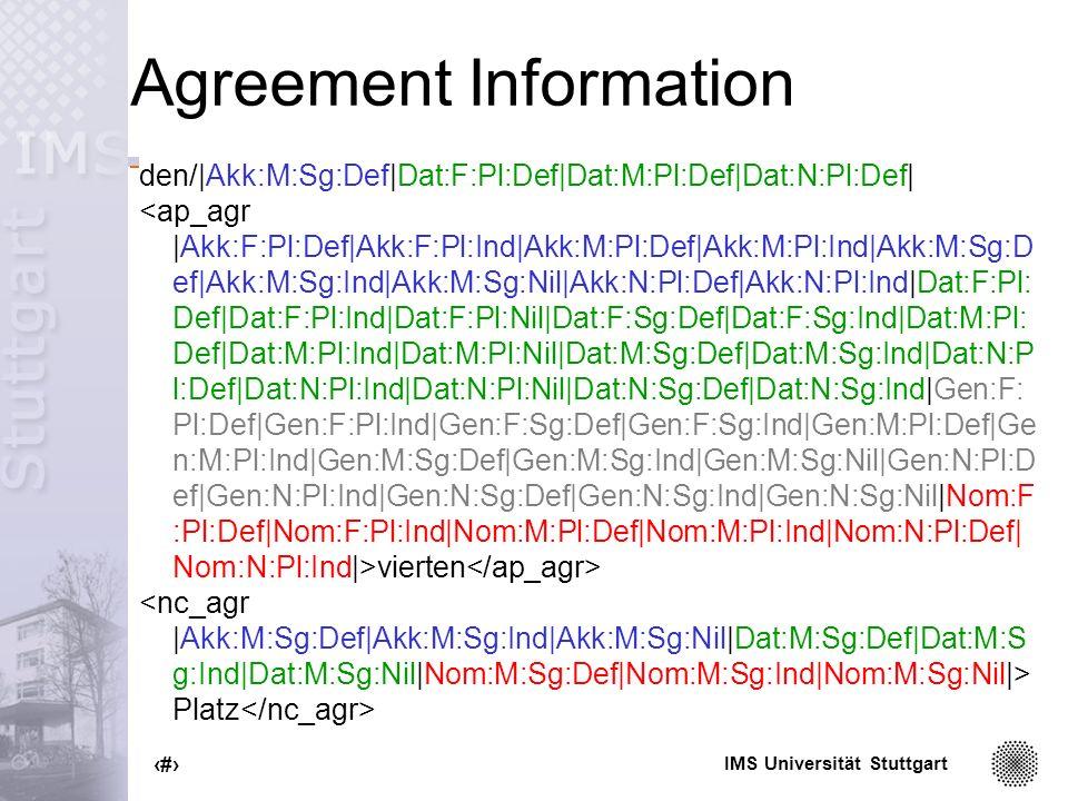IMS Universität Stuttgart 36 Agreement Information den/|Akk:M:Sg:Def|Dat:F:Pl:Def|Dat:M:Pl:Def|Dat:N:Pl:Def| vierten Platz
