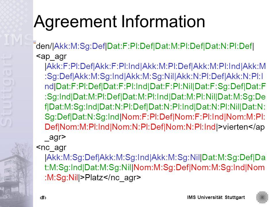 IMS Universität Stuttgart 37 Agreement Information den/|Akk:M:Sg:Def|Dat:F:Pl:Def|Dat:M:Pl:Def|Dat:N:Pl:Def| vierten Platz