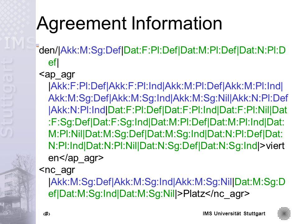 IMS Universität Stuttgart 38 Agreement Information den/|Akk:M:Sg:Def|Dat:F:Pl:Def|Dat:M:Pl:Def|Dat:N:Pl:D ef| viert en Platz