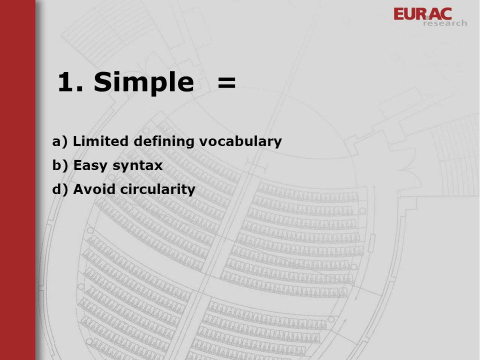 a) Limited defining vocabulary b) Easy syntax d) Avoid circularity 1. Simple =